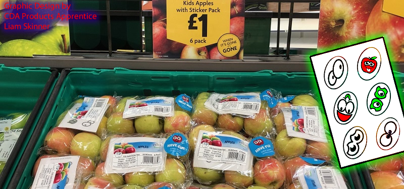 Morrisons Supermarket Apples with CDA edible wafer stickers