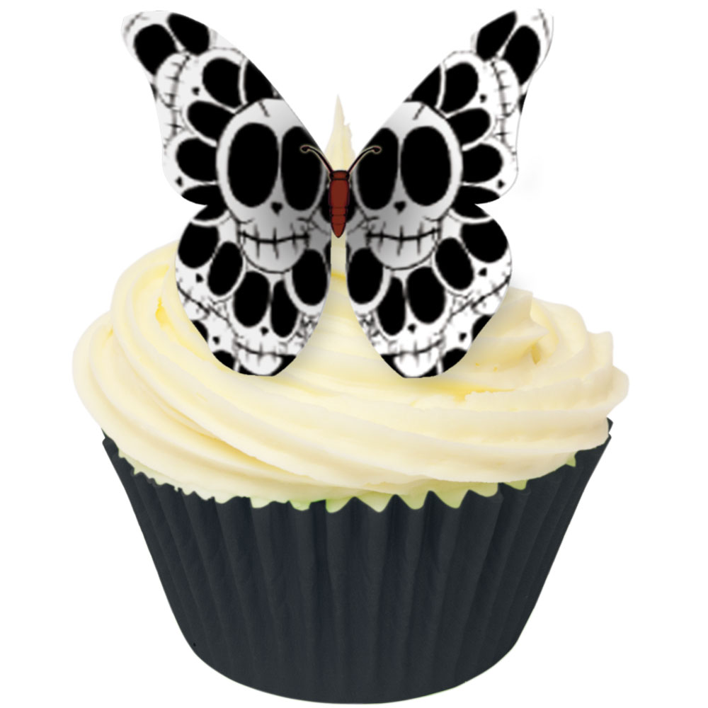 Edible Wafer Cupcake Toppers From Cda Products Skull Design Edible